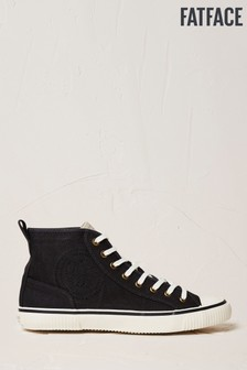 FatFace Black Organic High Top Lace-Up Trainers