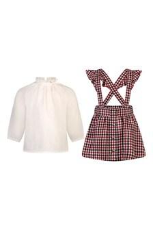 Baby Girls Cotton Blouse & Wool Skirt Set