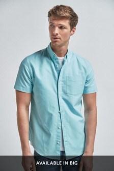 Aqua Regular Fit Short Sleeve Oxford Shirt