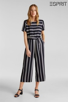 Esprit Blue Short Sleeve Striped Jumpsuit With Wide Leg And Waistband