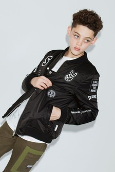 Sometime Soon Black Logo Bomber Jacket