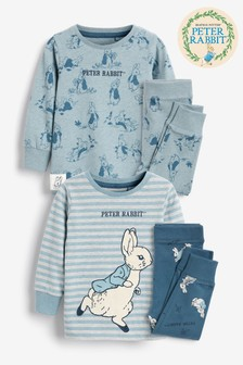 Blue 2 Pack Peter Rabbit Snuggle Pyjamas (9mths-8yrs)