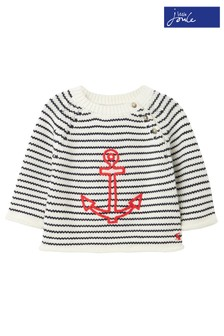 Joules White Beau Stripe Tractor Knitted Jumper