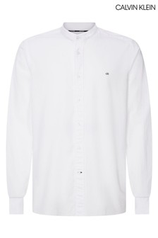 Calvin Klein White Stand Collar Liquid Touch Shirt