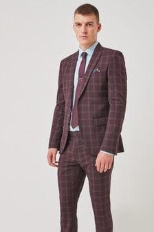 Burgundy Skinny Fit Trimmed Check Suit: Jacket