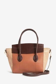 Tan/Brown Winged Tote Bag