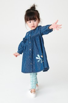 Denim Mouse Embroidered Dress And Leggings Set (3mths-7yrs)