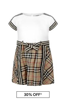 Burberry Kids Girls Beige Check Cotton Dress
