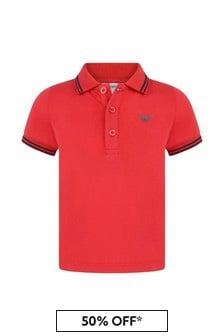Baby Boys Red Cotton Polo Top