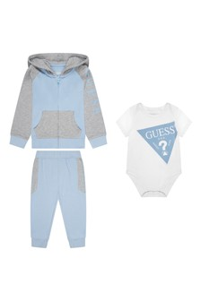 Baby Boys Blue Cotton Tracksuit Set (3 Piece)