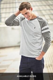 Grey/White Long Sleeve Raglan Top