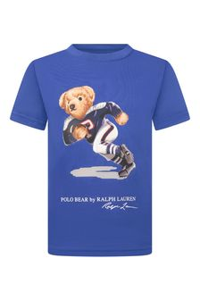 Boys Blue Cotton Jersey Bear T-Shirt