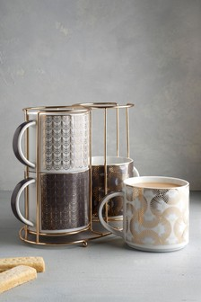 Freya Gold Stacking Mugs