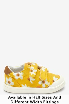 Ochre Daisy Standard Fit (F) Canvas Bumper Toe Trainers (Younger)
