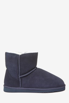 Navy Suede Slipper Boots