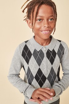 Grey Argyle Pattern Knitted Poloshirt (3-16yrs)
