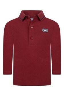 Baby Boys Red Cotton Long Sleeve Polo Top