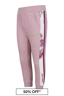 Girls Pink Glittery Rose Joggers