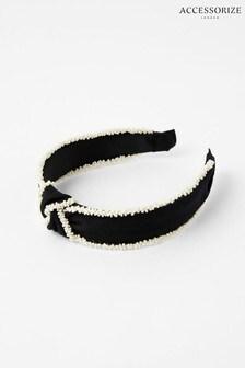 Accessorize Black Monochrome Beaded Headband