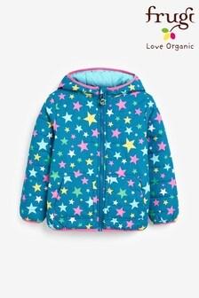 Frugi Blue Showerproof Recycled Polyester Reversible Padded Packaway Jacket