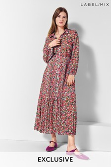 Next/Mix Floral Pleat Shirt Dress