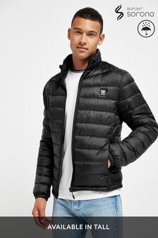 Black Shower Resistant Quilted Funnel Neck Jacket With DuPont Sorona® Insulation