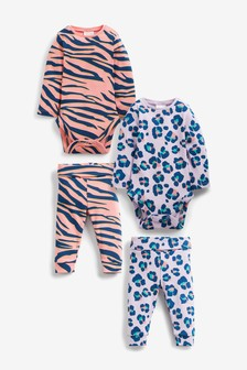 Pink/Purple 4 Piece Animal Co-ords Set (0mths-2yrs)