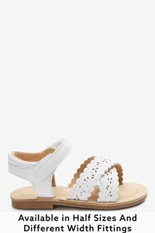 White Standard Fit (F) Scallop Sandals (Younger)