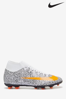 Nike White/Orange CR7 Superfly 7 Club Multi Ground Football Boots