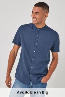 Navy Regular Fit Cotton/Linen Grandad Collar Shirt