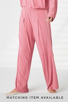 Pink Soft Wide Leg Trousers