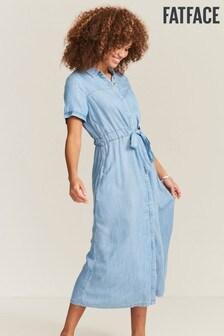 FatFace Blue Carey Chambray Shirt Dress