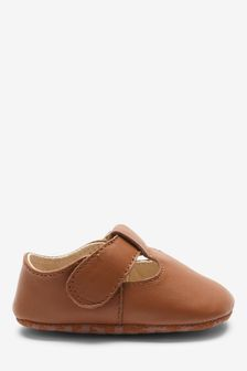 Tan Leather T-Bar Pram Shoes (0-24mths)