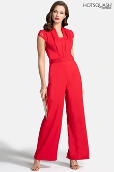 HotSquash Red Crepe Jumpsuit With Lace Detail