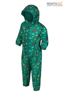 Regatta Green Kid's Waterproof All-In-One Printed Puddlesuit