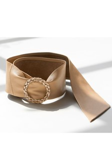 Cream Wide Leather Belt