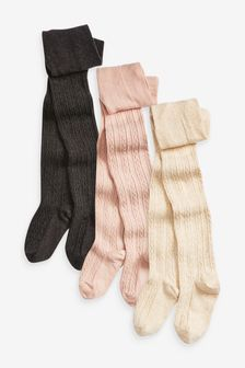 Grey/Pink/Cream 3 Pack Cable Tights