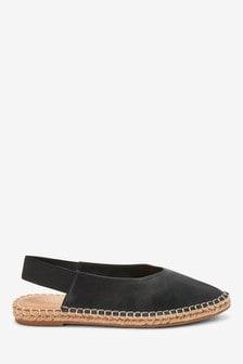 Black Espadrille Slingback Shoes