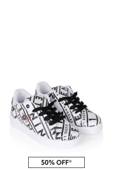 Boys White/Black Branded Trainers