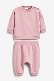 Pink GOTS Organic Sweatshirt And Joggers Set (0mths-2yrs)