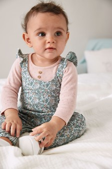 Teal Ditsy Dungarees And Bodysuit (0mths-3yrs)