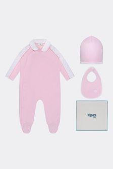 Girls Pink Cotton Babygrow Gift Set