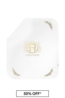 Aigner White Cotton Blanket