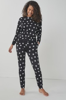 Monochrome Stars Cotton Pyjamas