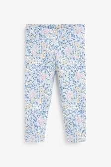 Blue Organic Cotton Soft Touch Ditsy Leggings (3mths-7yrs)