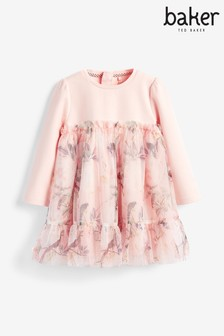 Baker By Ted Baker Girls Pink Tulle Floral Dress