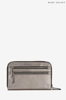 Mint Velvet Gunmetal Leather Travel Pouch