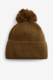 Khaki Knitted Pom Hat