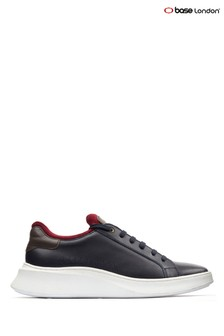 Base London® Blue Crescent Waxy Lace-Up Trainers
