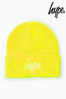 Hype. Fluorescent Yellow Script Beanie